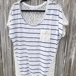 Maurice's Sz 0x, semi sheer, lace, striped top